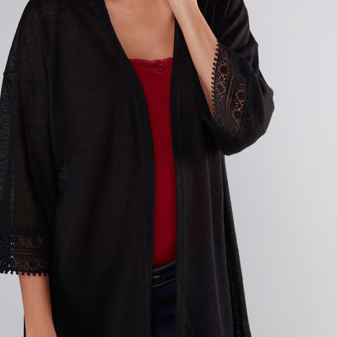 Textured Shrug with Tassels