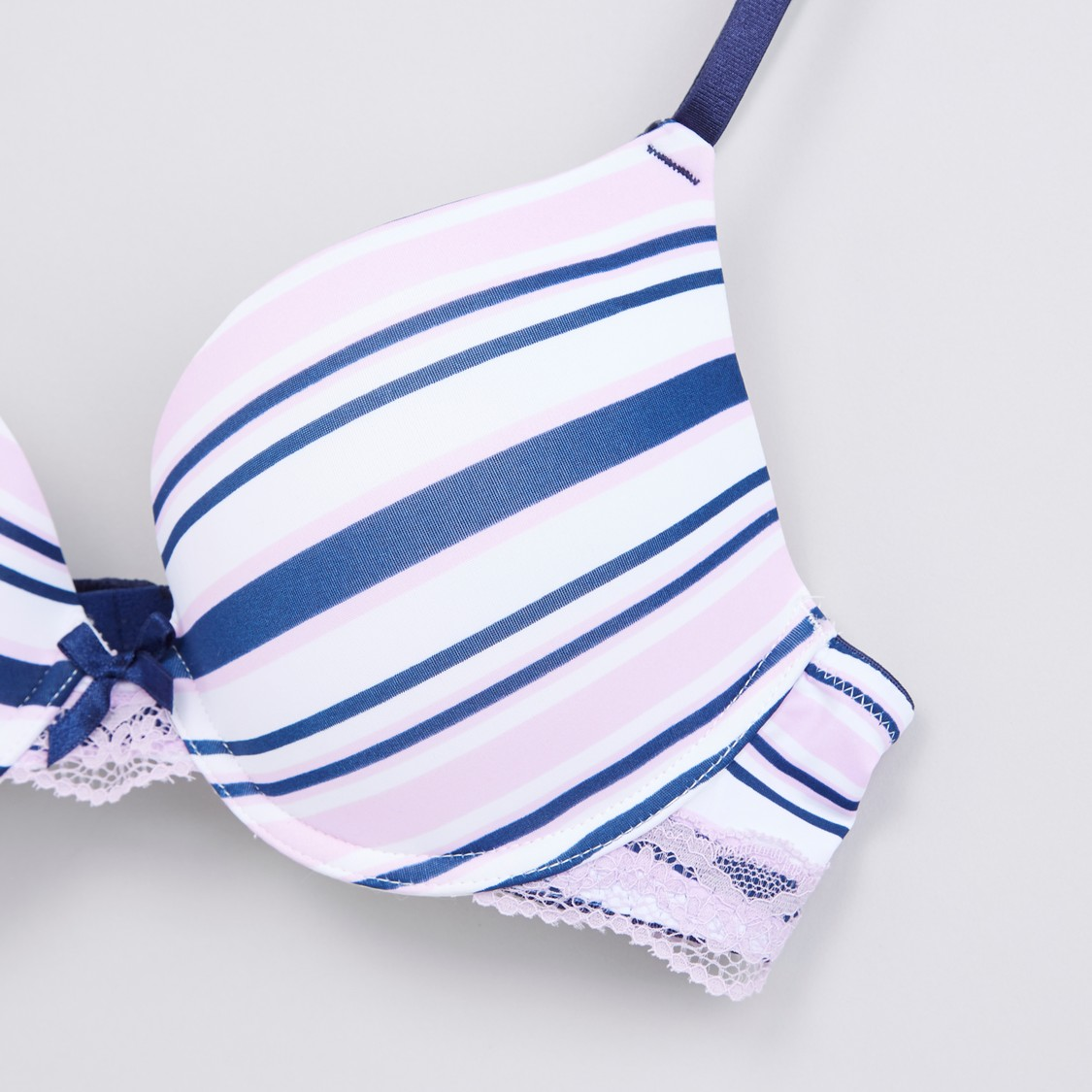 Striped Lace Detail Plunge Bra with Hook and Loop Closure