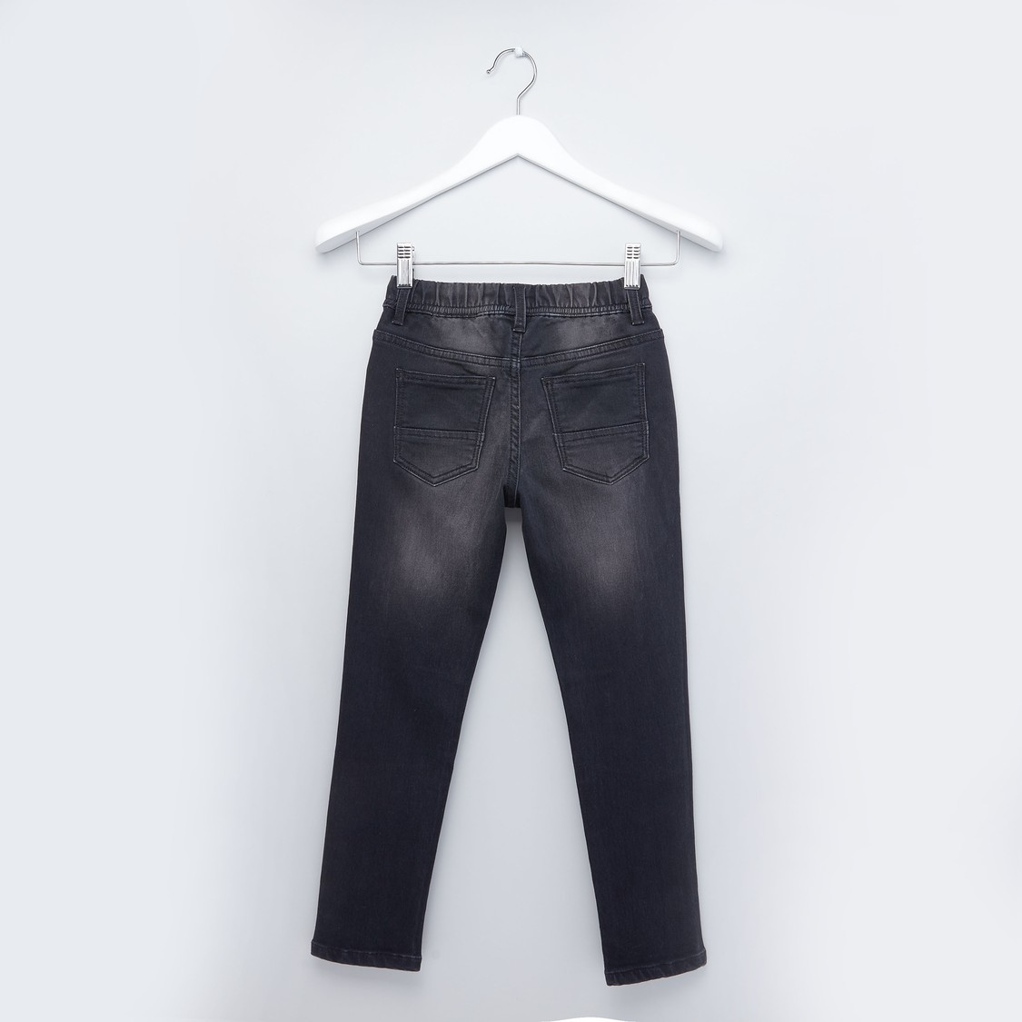 Plain Jeans with 5-Pockets and Drawstring Closure
