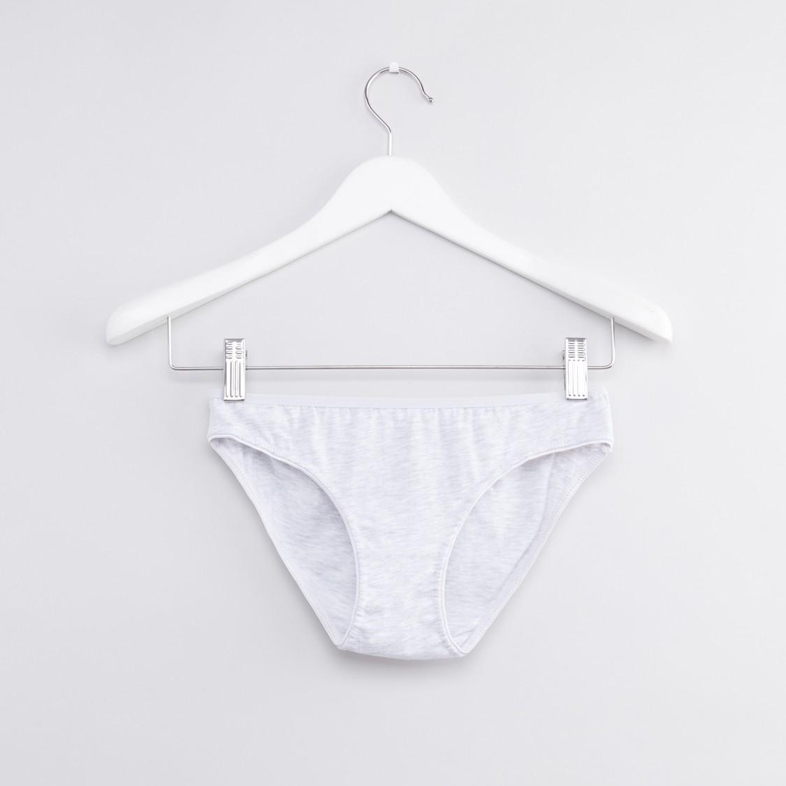 Set of 5 - Solid Bikini Briefs with Elasticised Waistband