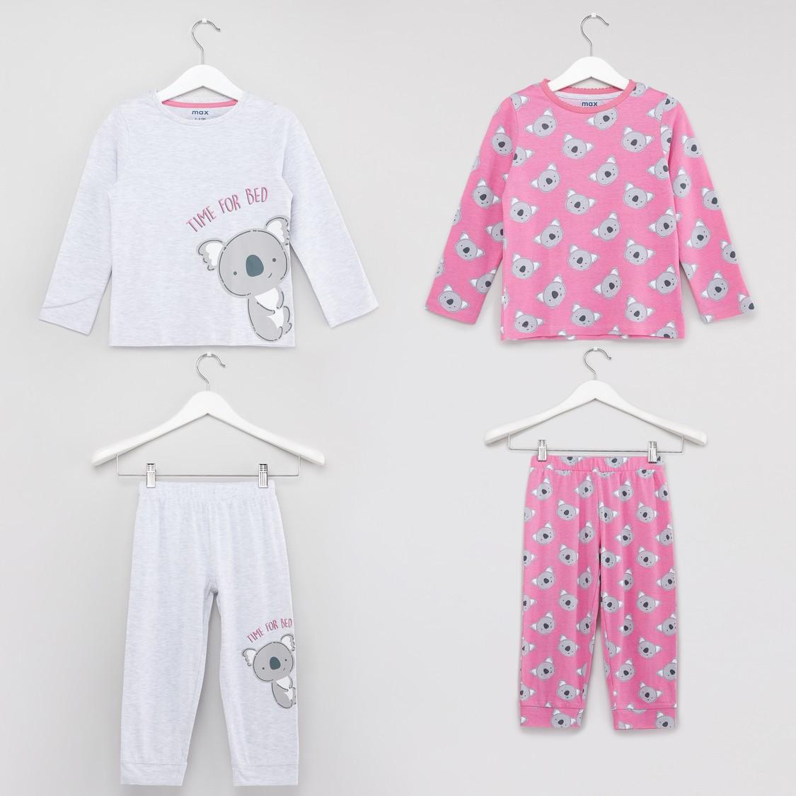 Set of 2 - Printed Round Neck T-shirt and Full Length Jog Pants