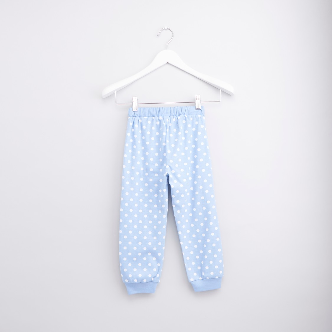 Printed Long Sleeves T-shirt with Polka Dot Jog Pants