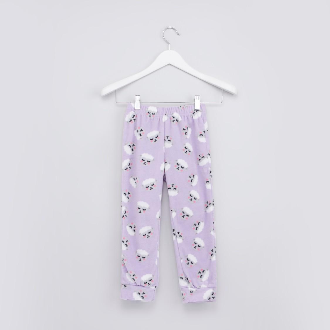 Printed T-shirt with Long Sleeves and Full Length Jog Pants