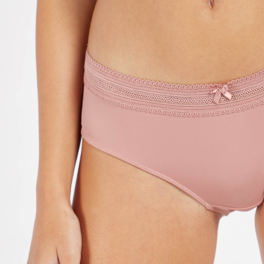 Set of 2 - Assorted Boyshorts with Lace Trim Detail