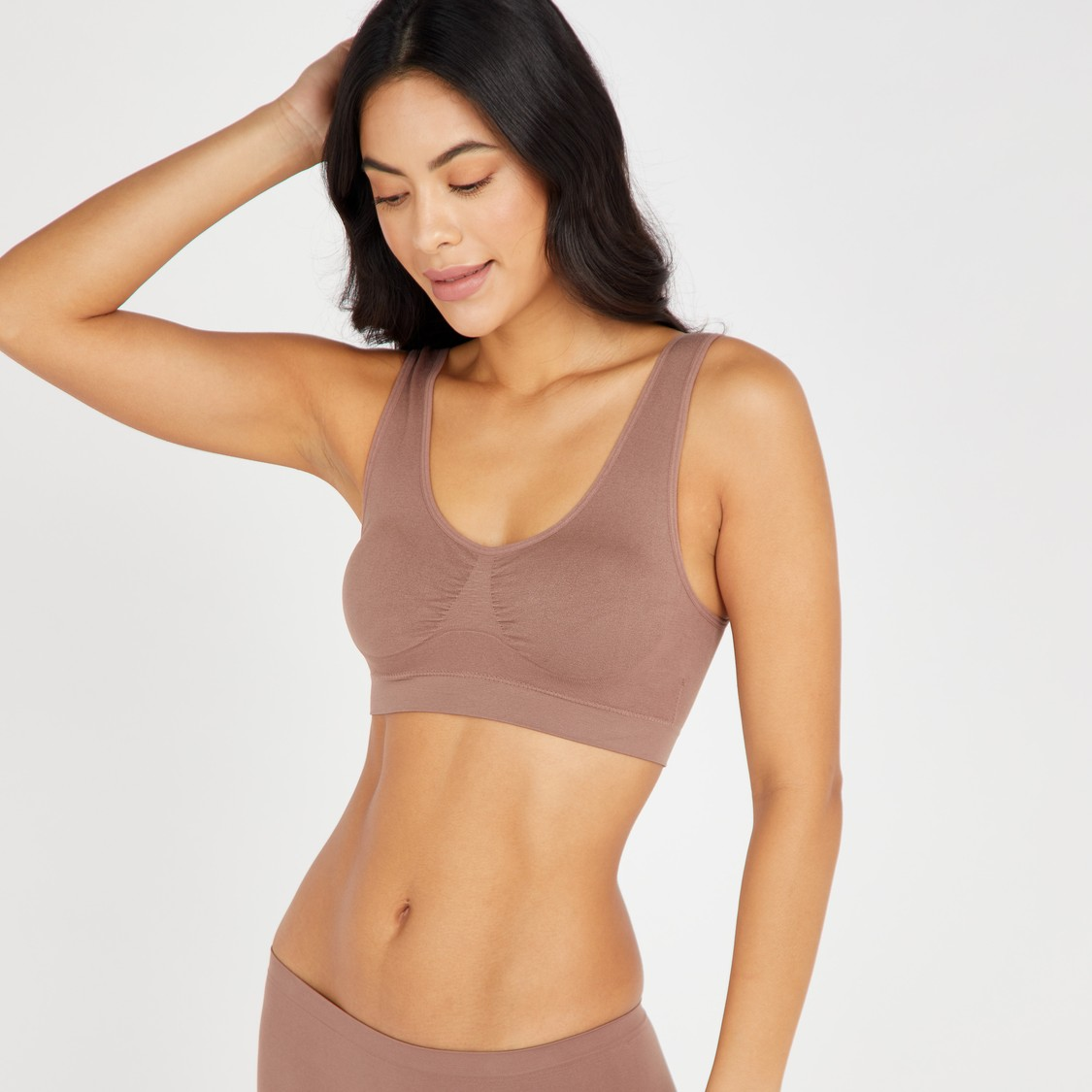 Textured Seamless Sports Bra with Elasticised Band
