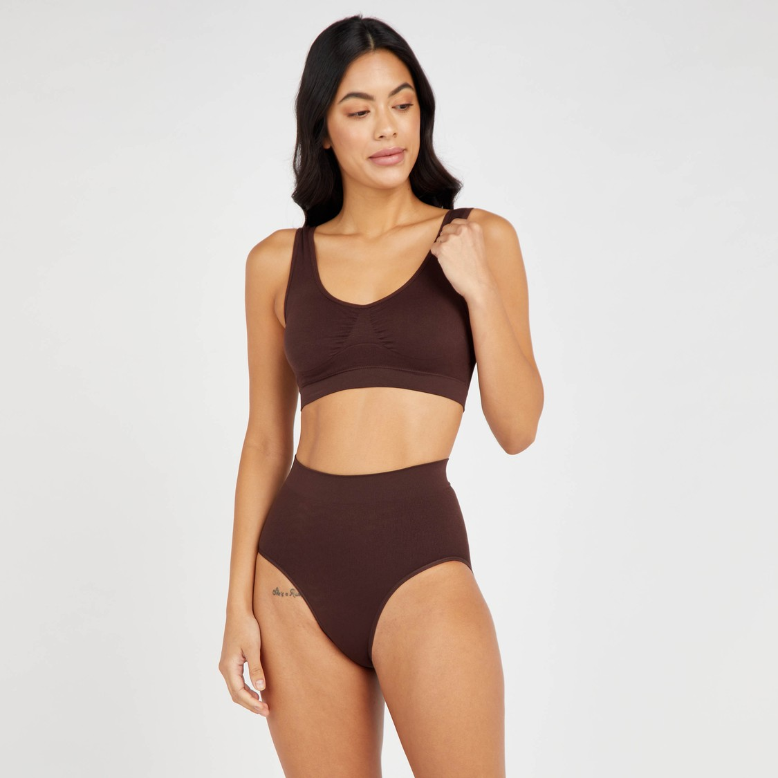 Textured Seamless Crop Top with Elasticised Band