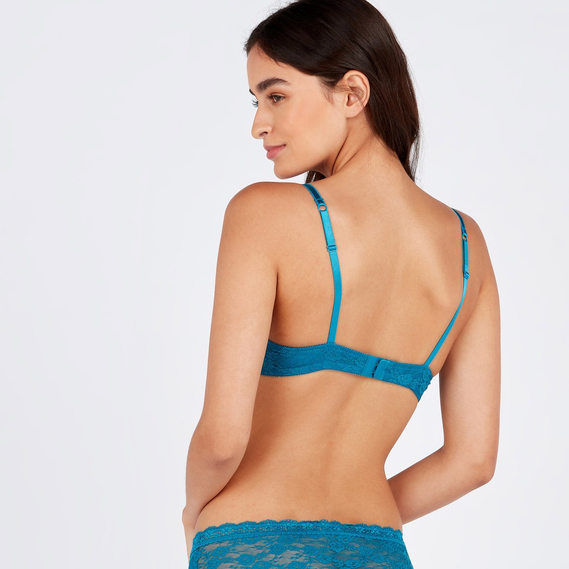 Lace Detail Padded Wired Plunge Bra with Adjustable Shoulder Straps