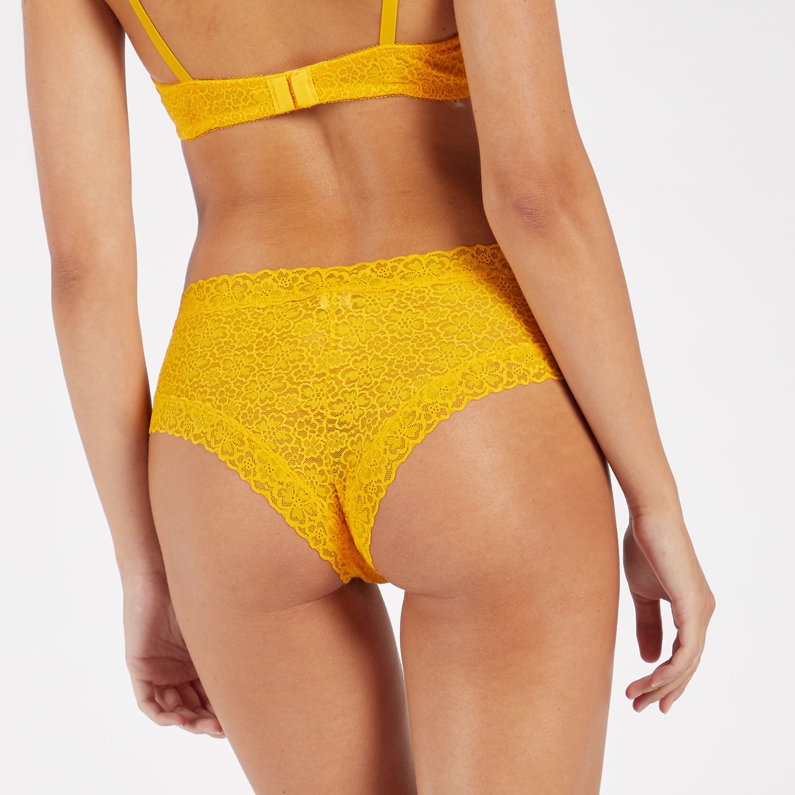 Floral Embroidered Lace Bikini Briefs with Bow Detail