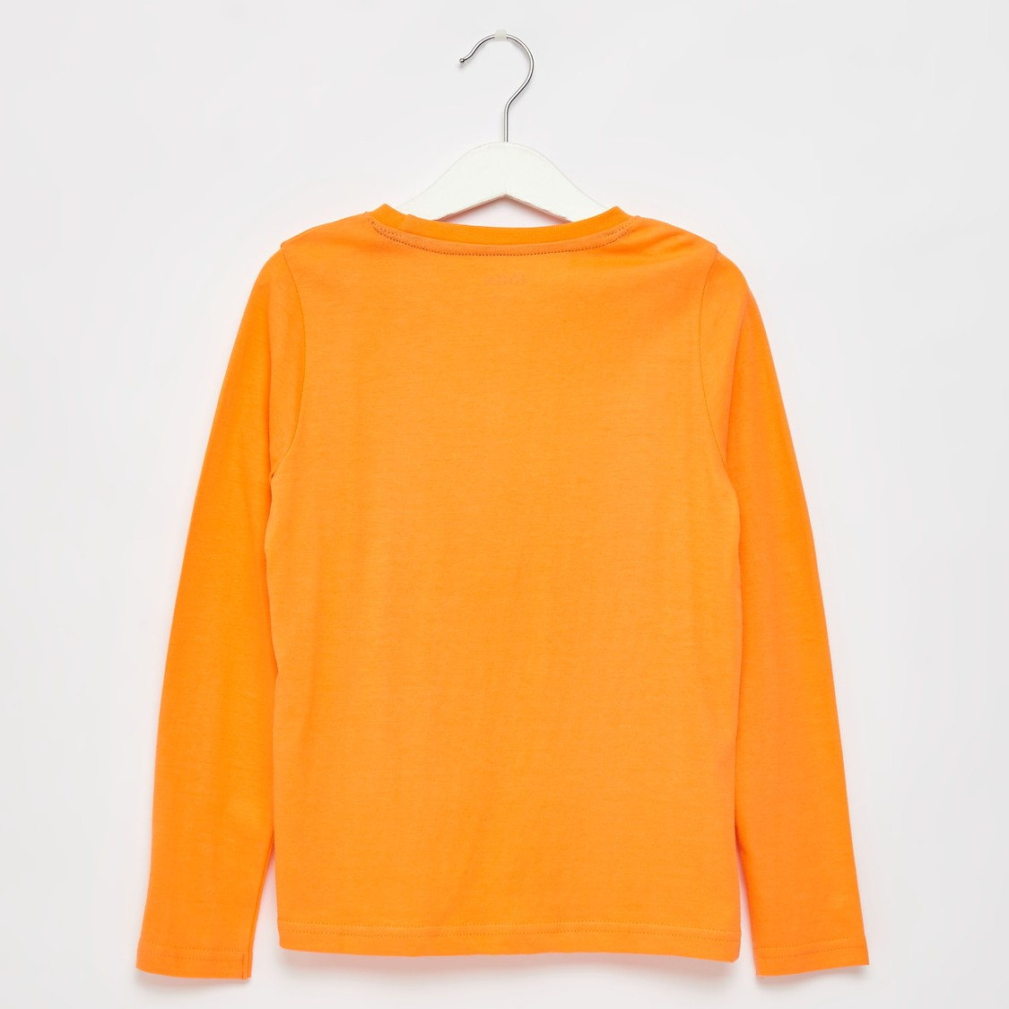 Printed Round Neck T-shirt with Long Sleeves