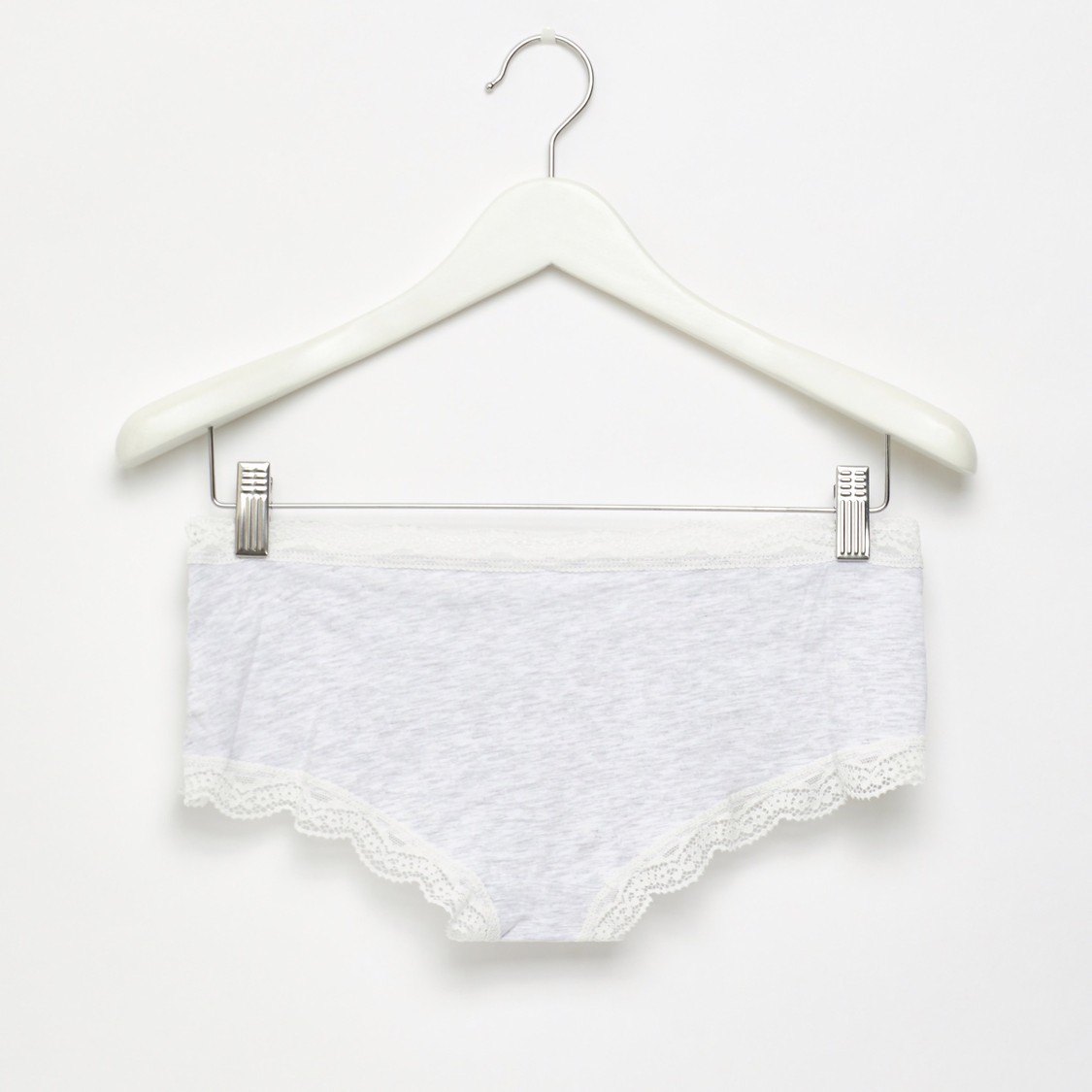 Set of 2 - Lace Detail Mid-Rise Boyleg Briefs with Elasticised Waist