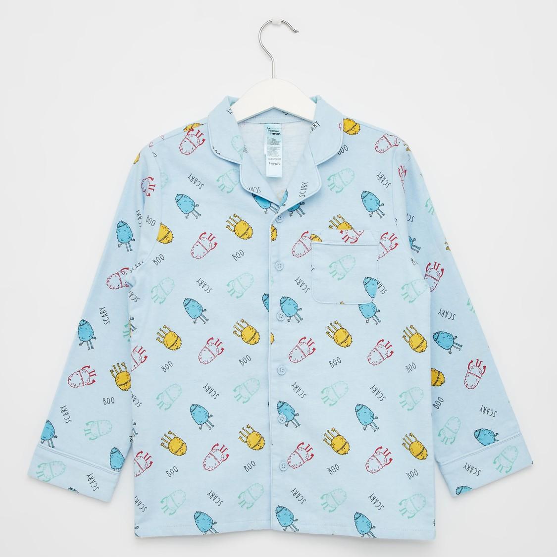 طقم بنطلون بيجاما وقميص بياقة عادية وطبعات - تشكيلة كوزي