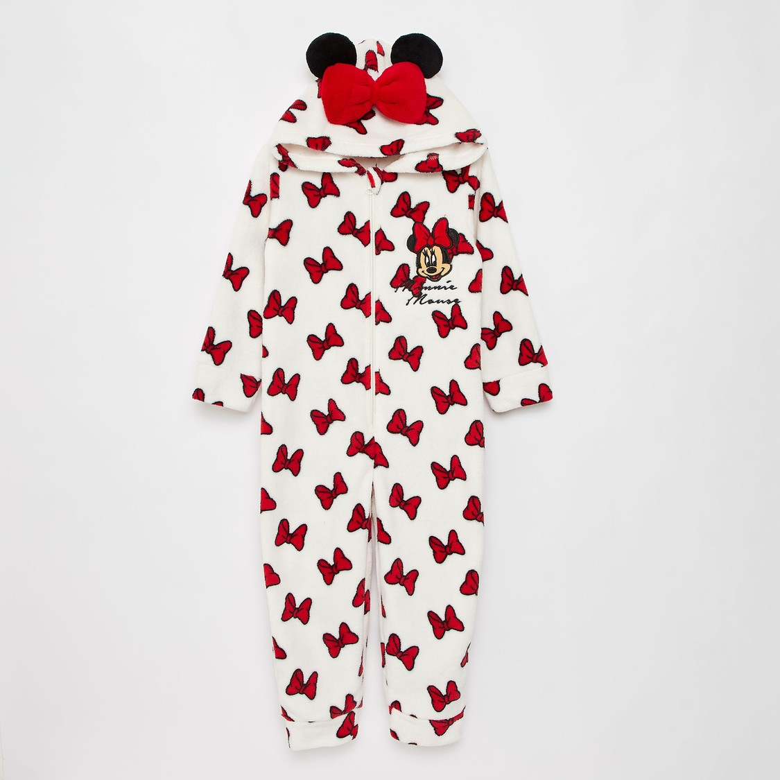 Cozy Collection Minnie Mouse Print Onesie with Long Sleeves and Hood