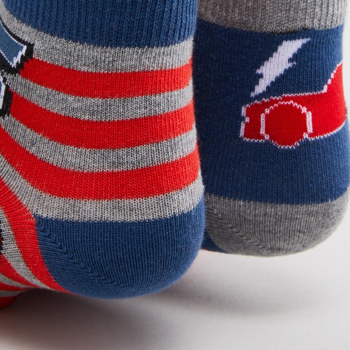 Set of 2 - Printed Ankle Length Socks with Cuffed Hem