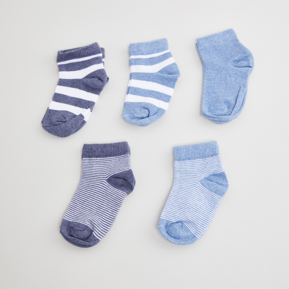 Set of 5 - Assorted Ankle Length Socks with Cuffed Hem