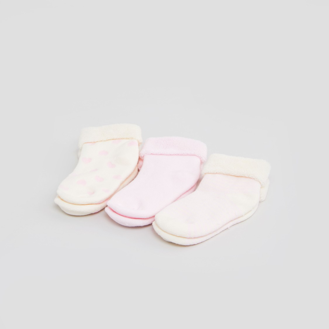 Set of 3 - Assorted Socks with Cuffed Hem