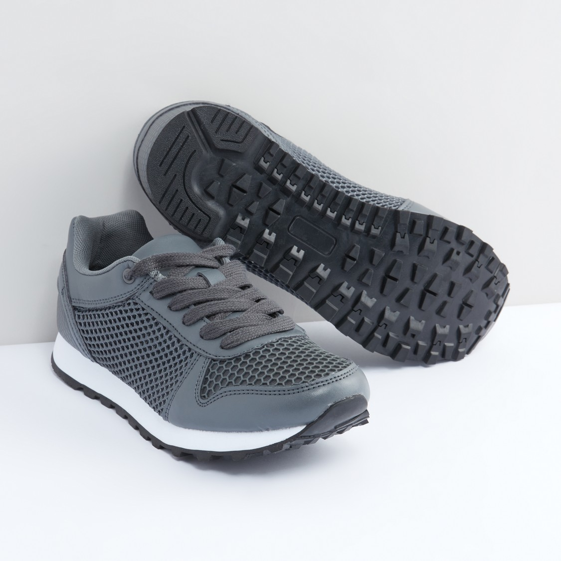 Textured Lace-Up Sports Shoes