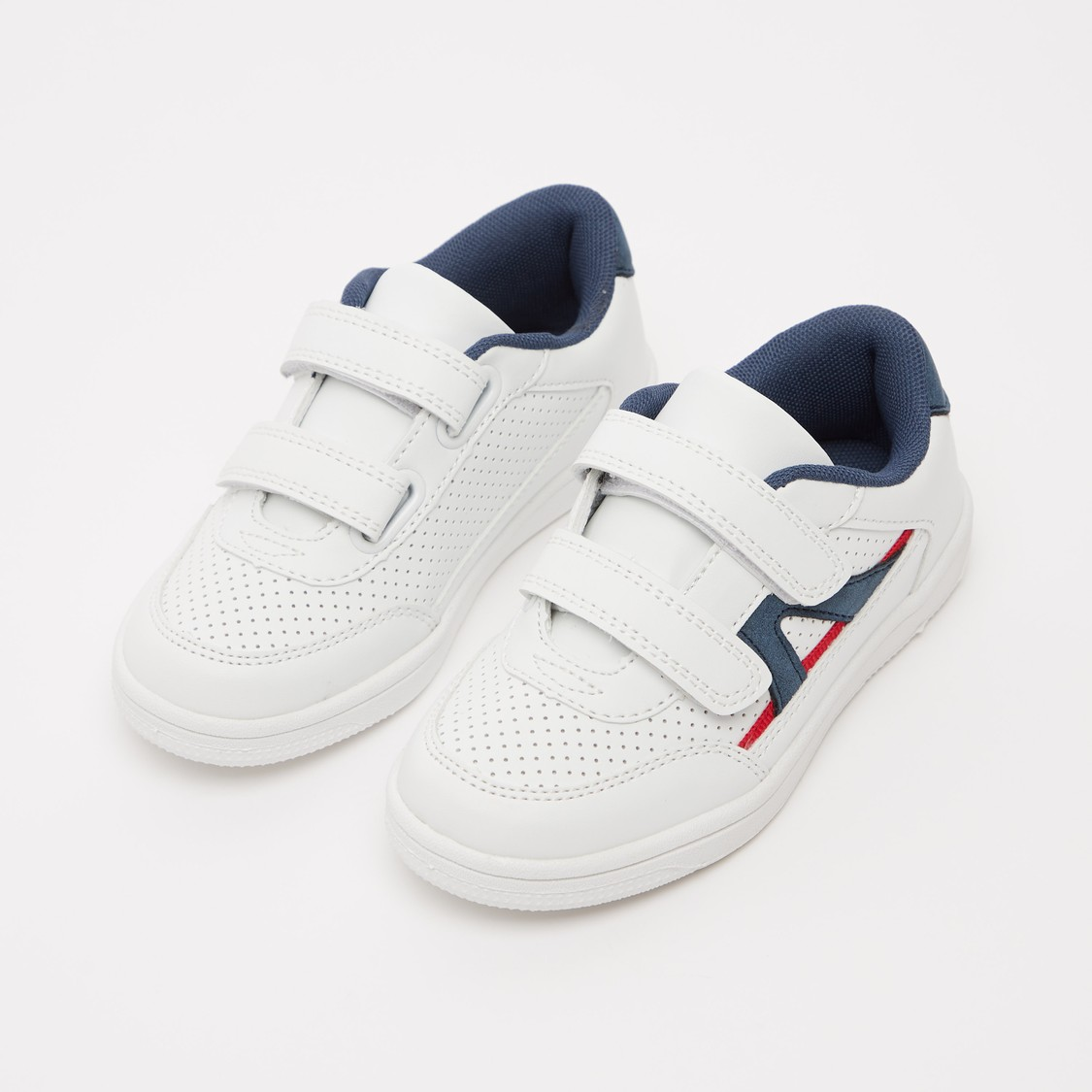 Perforation Detail Sneakers with Hook and Loop Closure