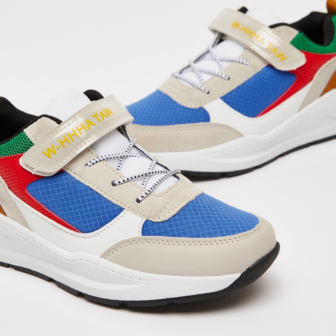 Panelled Sneakers with Hook and Loop Closure