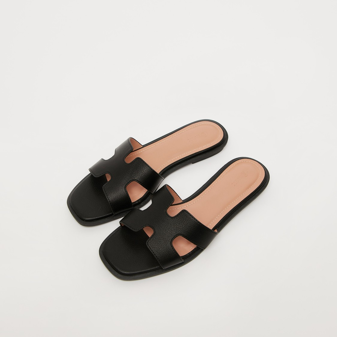 Solid Slip-On Flat Sandals with Open-Toe Detail