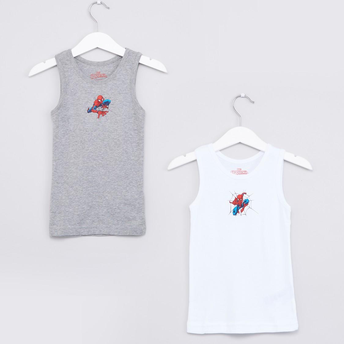 Spider-Man Printed Sleeveless Vest - Set of 2
