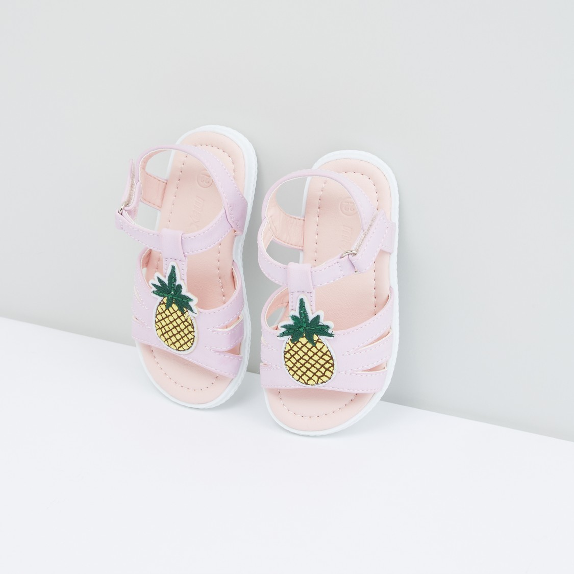 Pineapple Applique Detail Floaters with Hook and Loop Closure