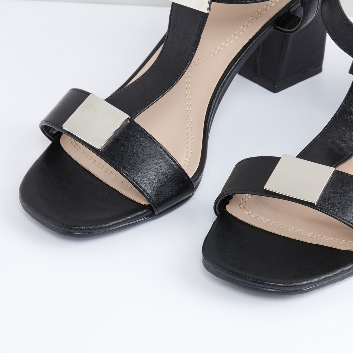 Metallic Detail Block Heel Sandals with Ankle Strap