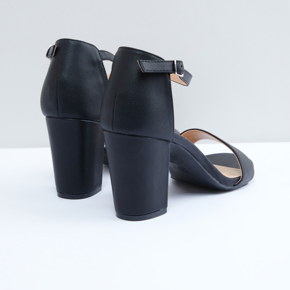 Ankle Strap Block Heel Sandals with Pin Buckle Closure