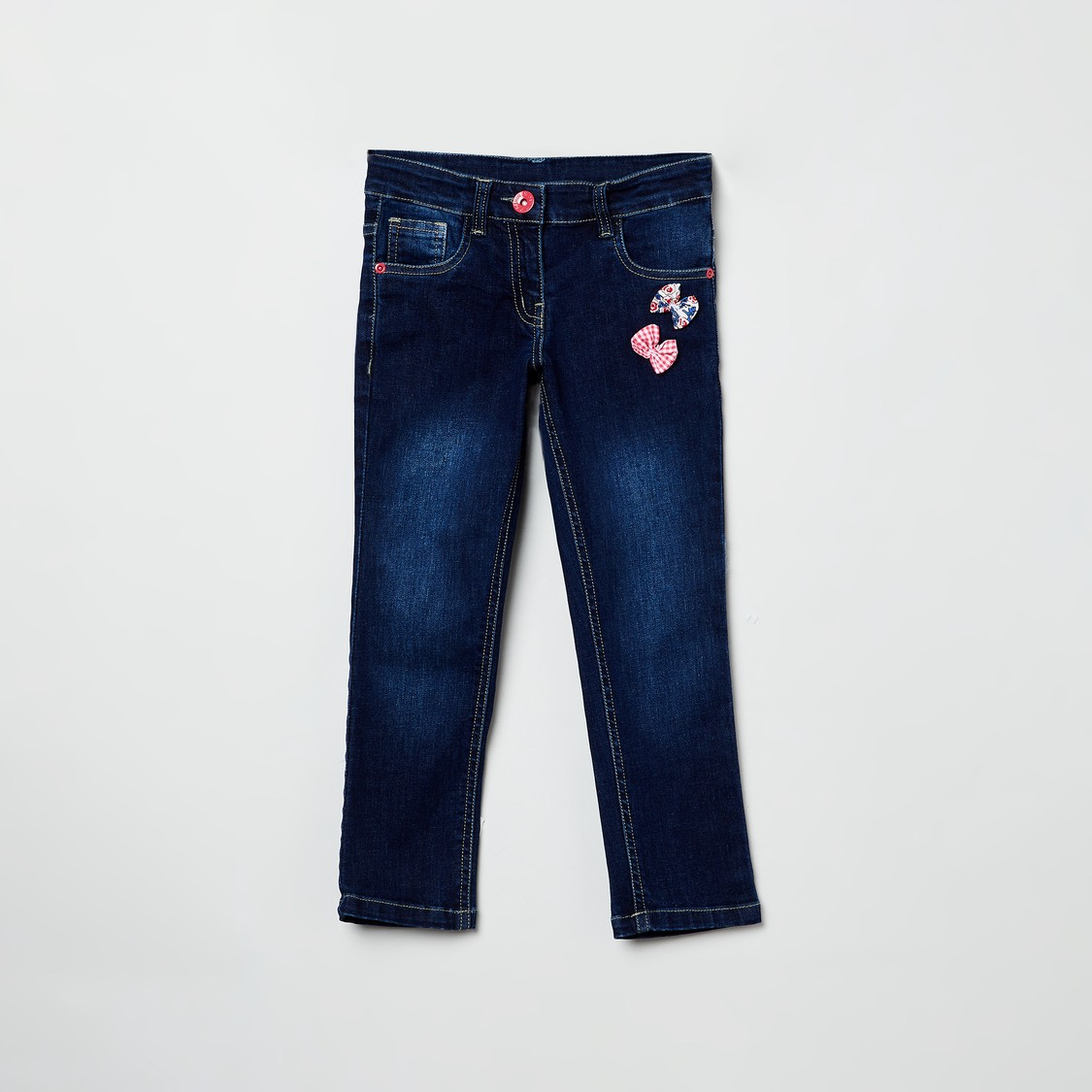MAX Appliqued Mid washed Slim Fit Jeans