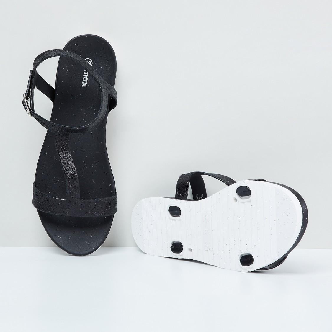 MAX Glitter T-Strap Flatforms