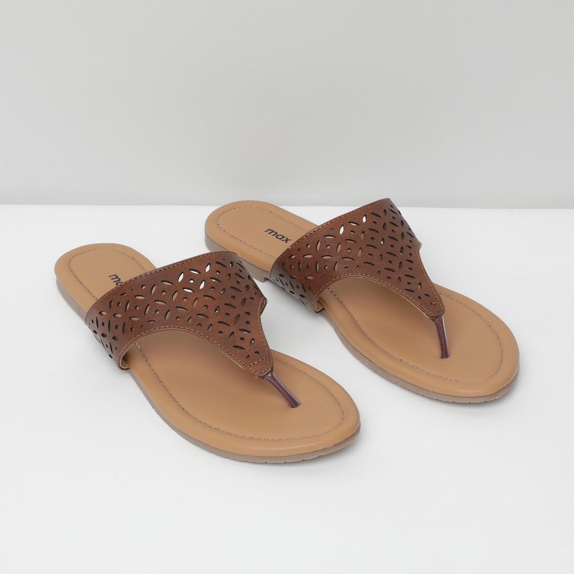 MAX Textured Open-Toe Flats