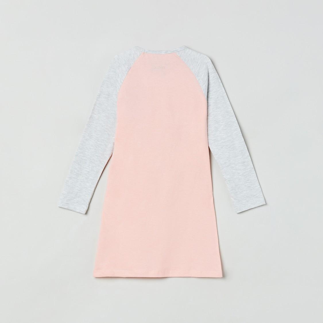 MAX Colourblock Night Dress with Applique