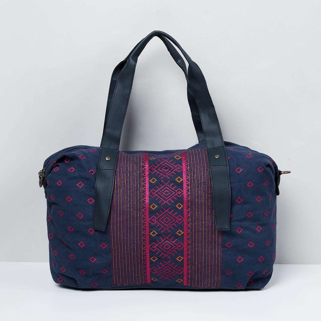 MAX Embroidered Zip-Closure Duffle Bag