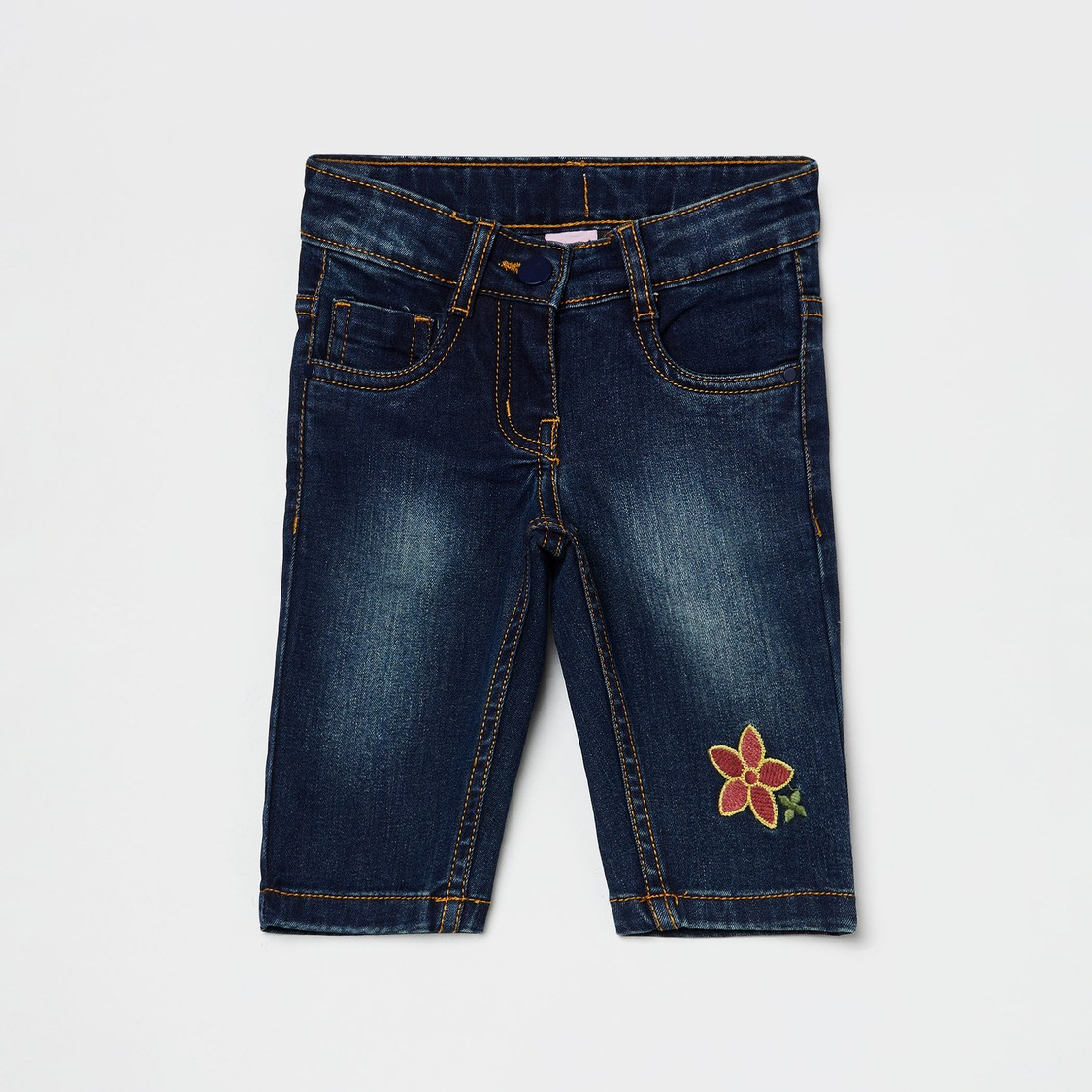 MAX Stonewashed Slim Fit Jeans with Embroidery