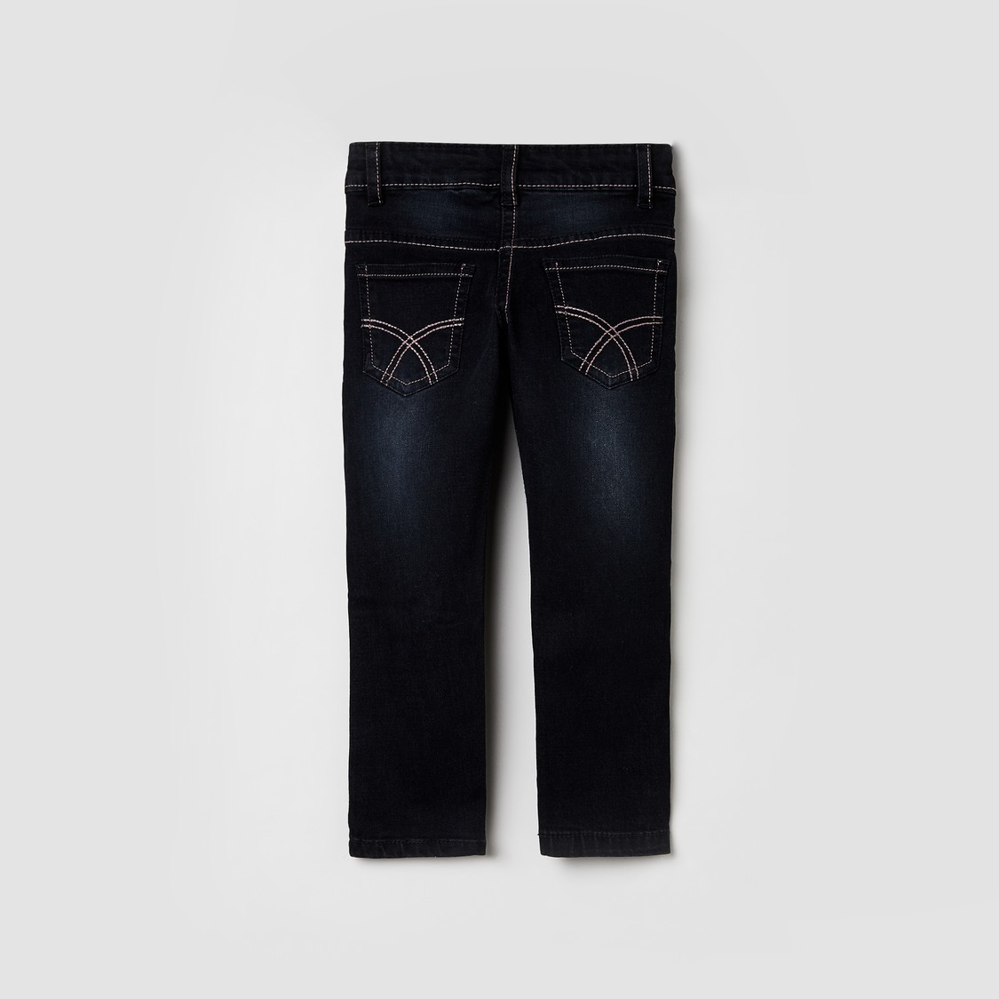 MAX Solid Jeans with Floral Embroidery