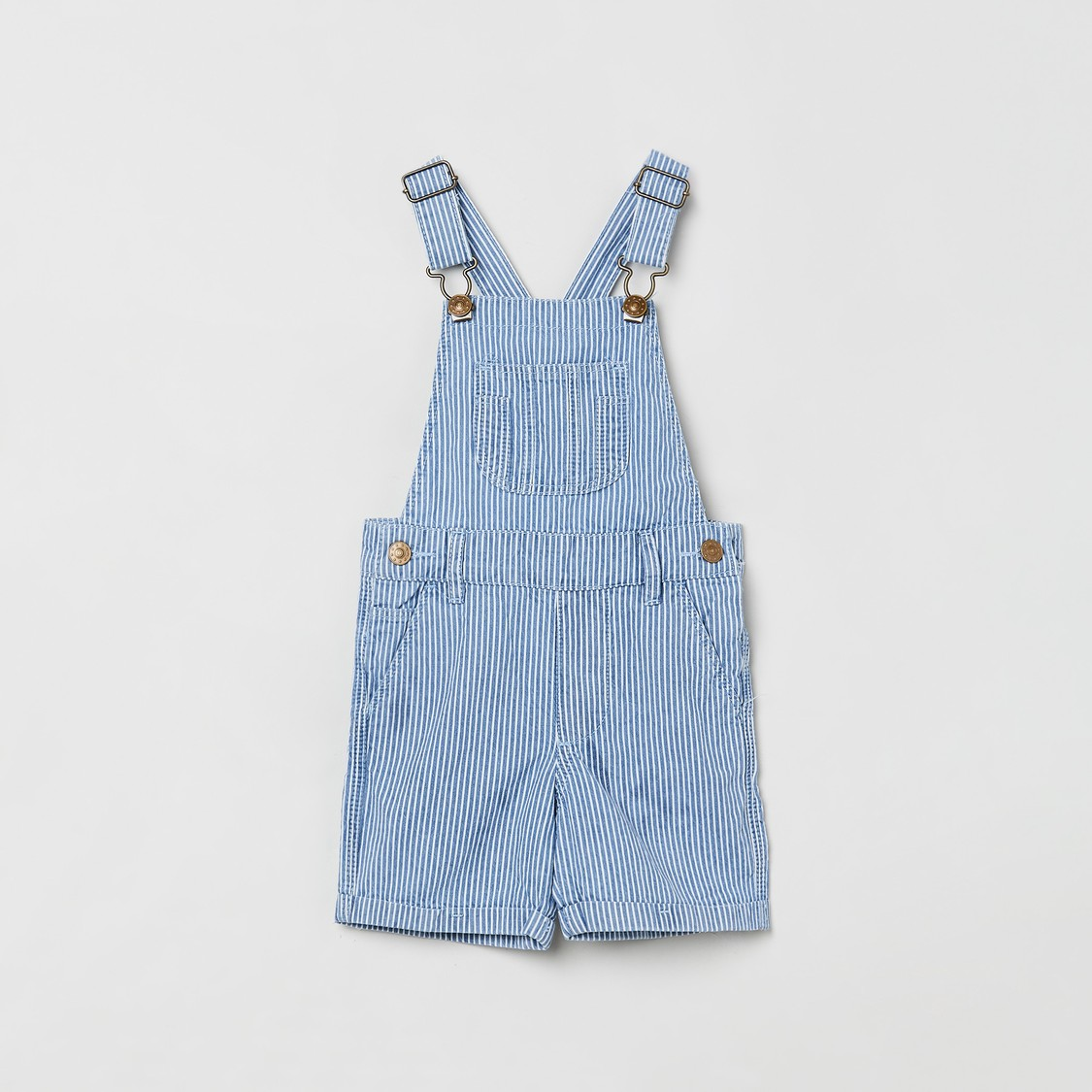 MAX Striped Dungarees with Slant Pockets