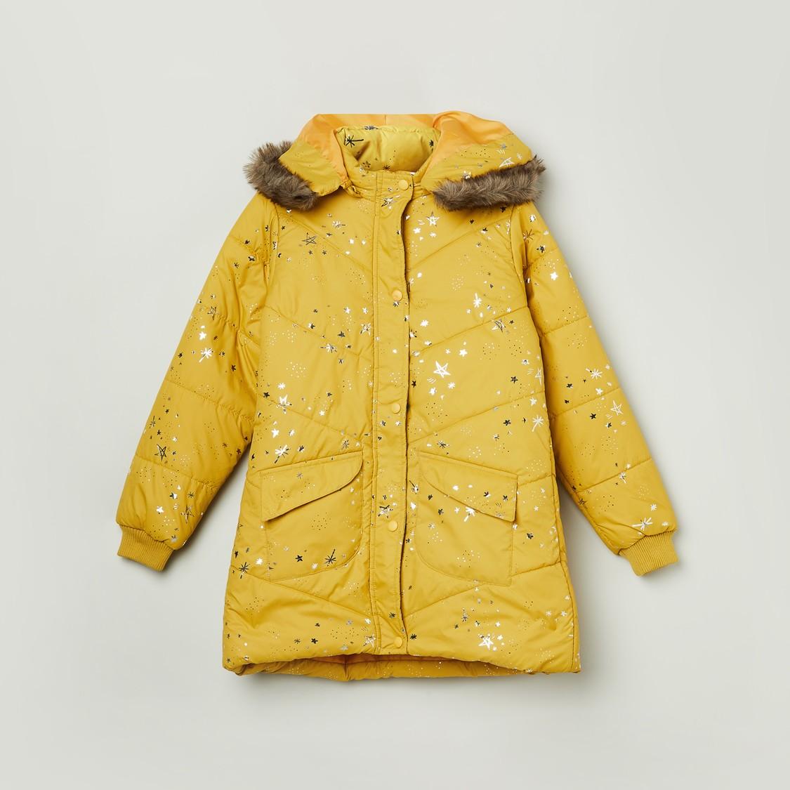 Max Printed Puffed Full Sleeves Hooded Jacket