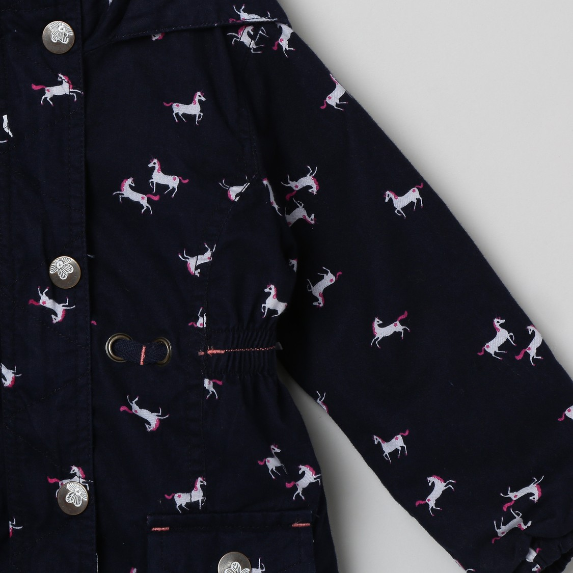 MAX Printed Hooded Jacket with Flap Pockets