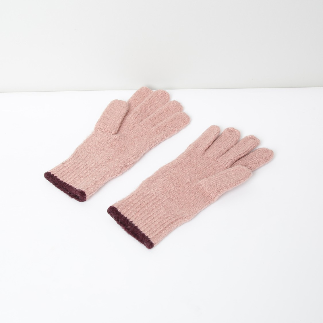 MAX Patterned Knit Ribbed Gloves