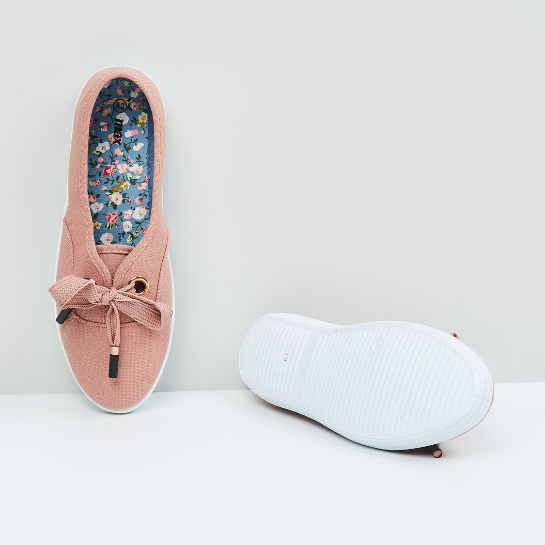 MAX Solid Slip-On Shoes with Lace-Up Detail