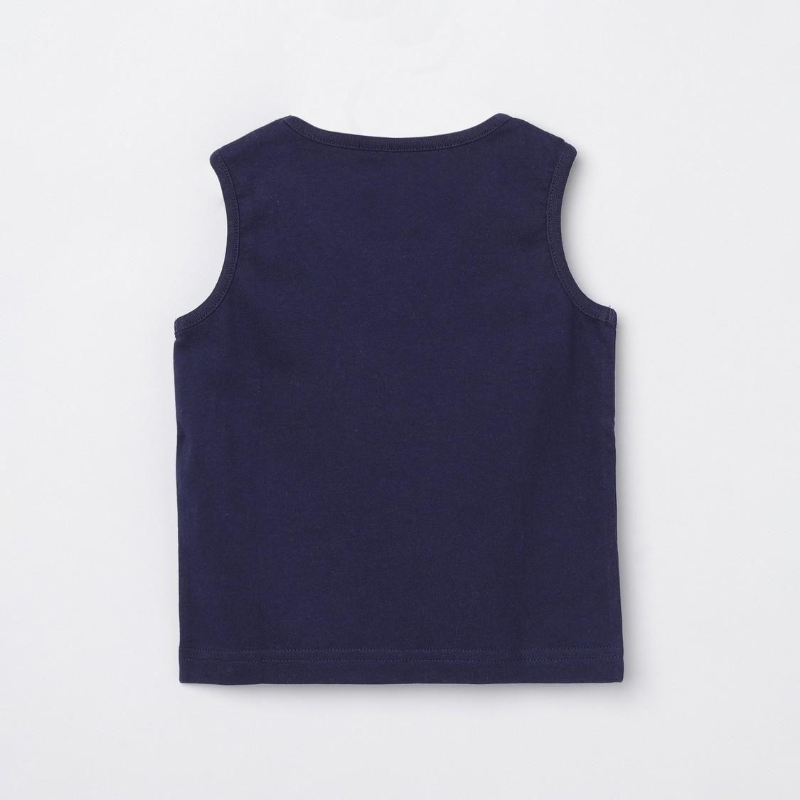 MAX Typographic Print Sleeveless Crew Neck T-shirt