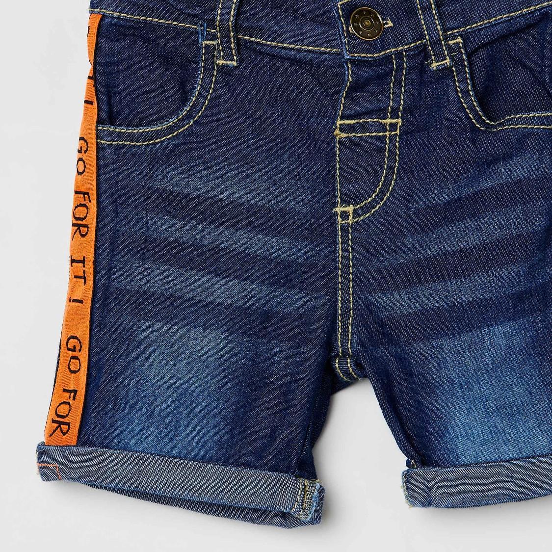 MAX Printed Tape-Detailed Denim Shorts