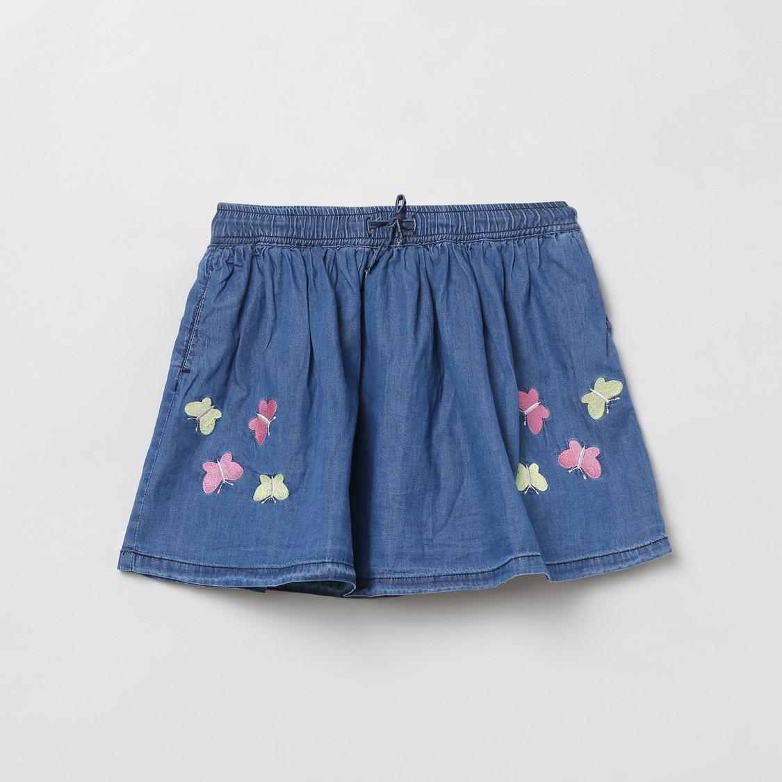 MAX Embroidered Elasticated Denim Skirt