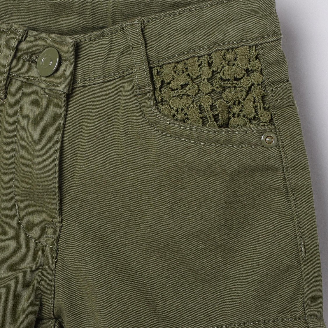MAX Solid Woven Shorts with Lace Detail
