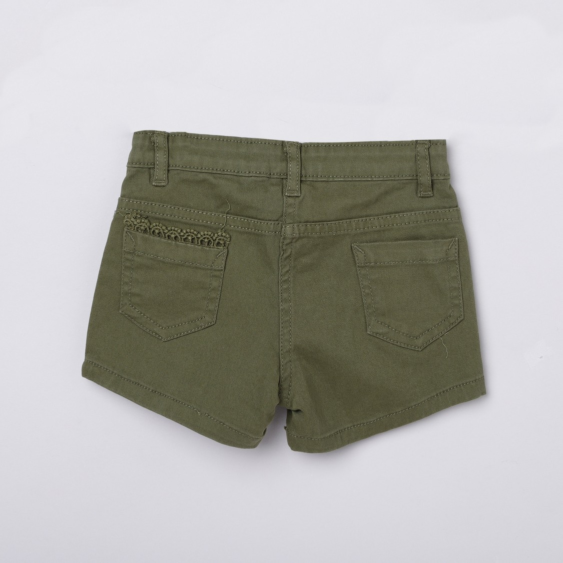 MAX Solid Lace Detail Woven Shorts