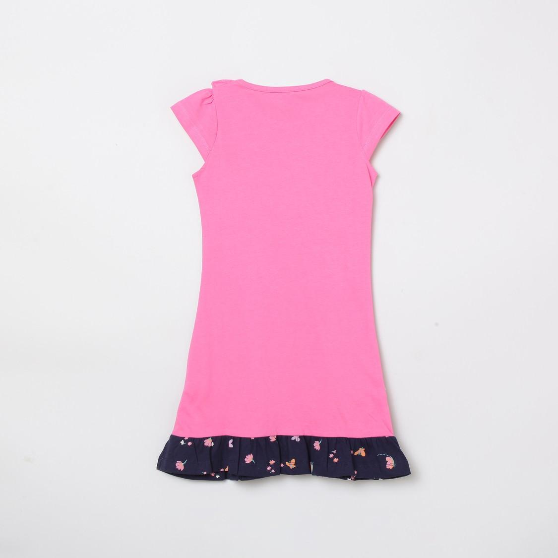 MAX Printed Sleepwear Dress with Ruffle Detail