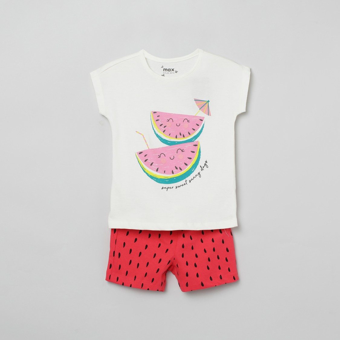 MAX Printed Round Neck T-shirt with Elastiacted Shorts