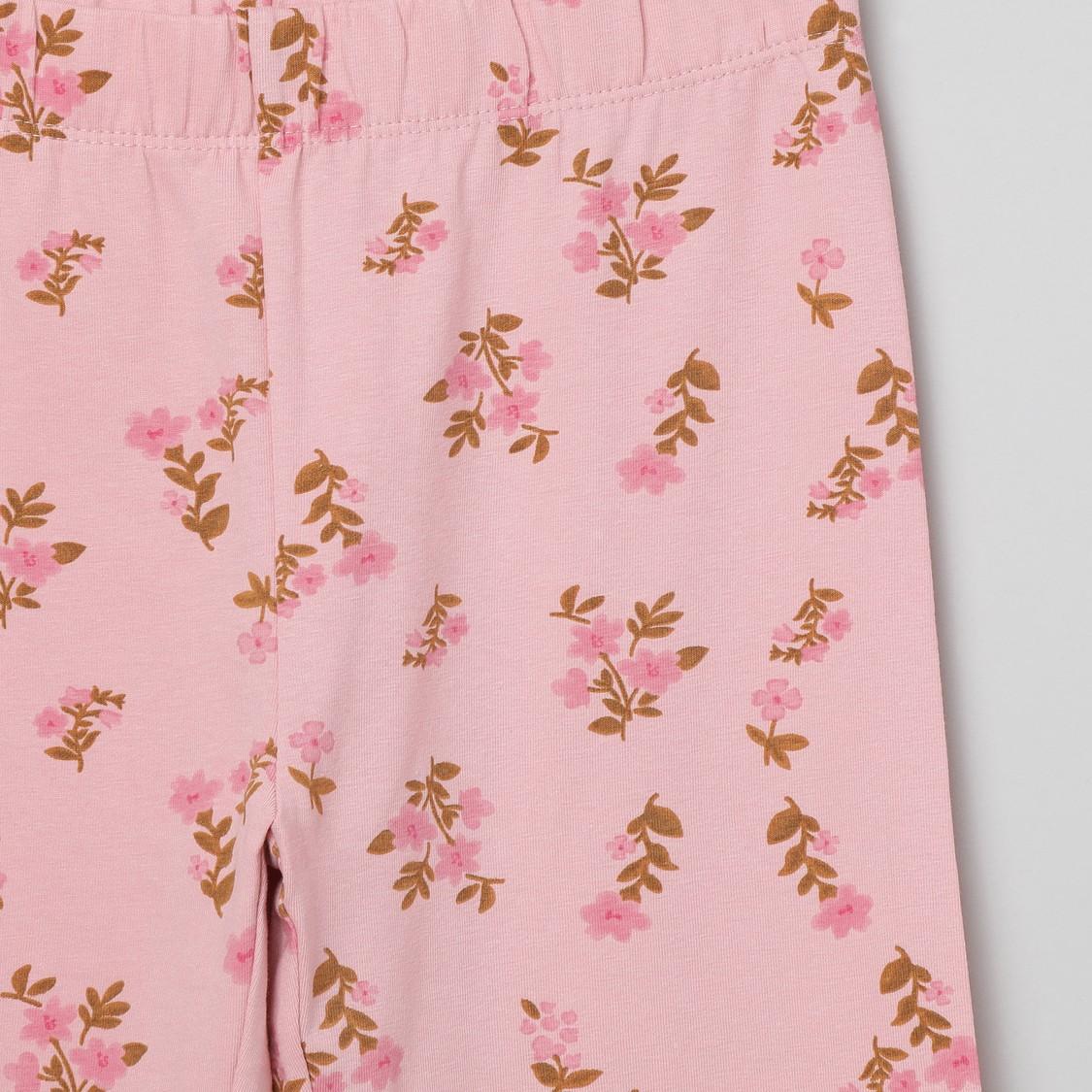 MAX Floral Print T-shirt and Elasticated Pyjamas