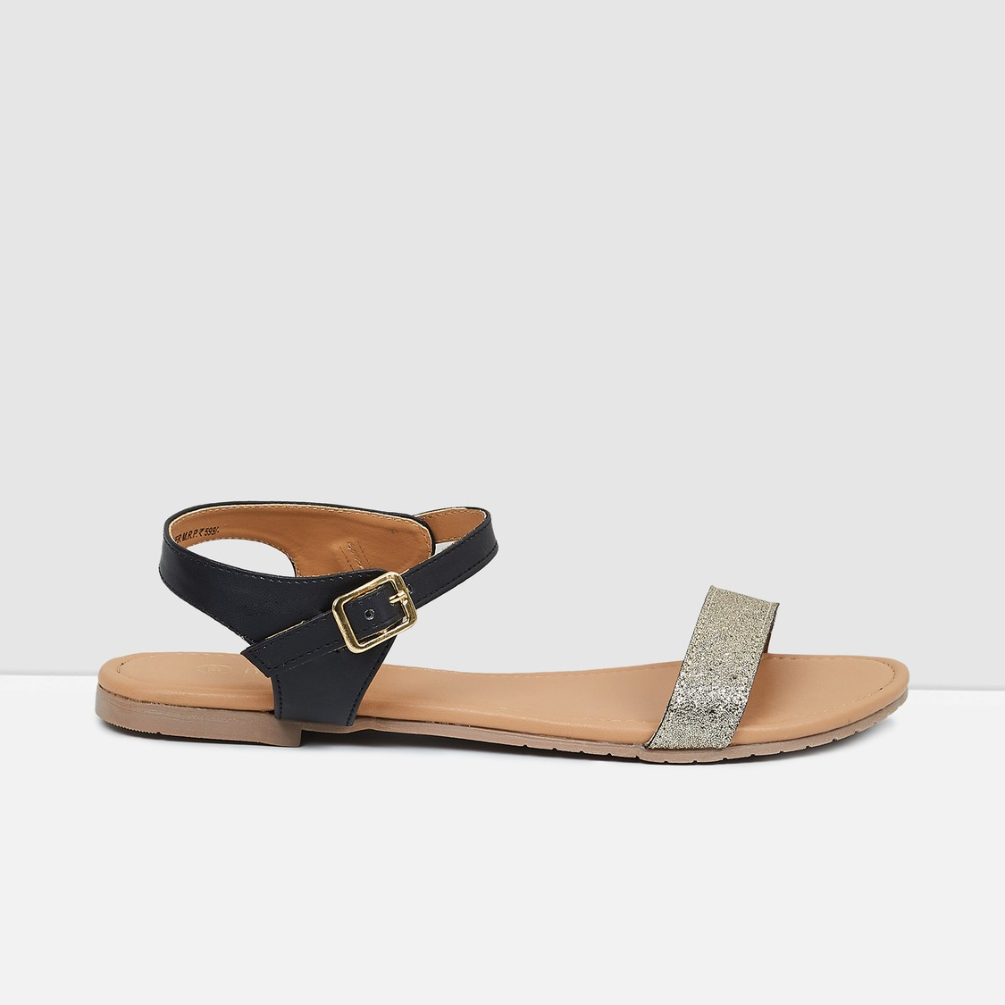 MAX Textured Open-Toed Strap Flats