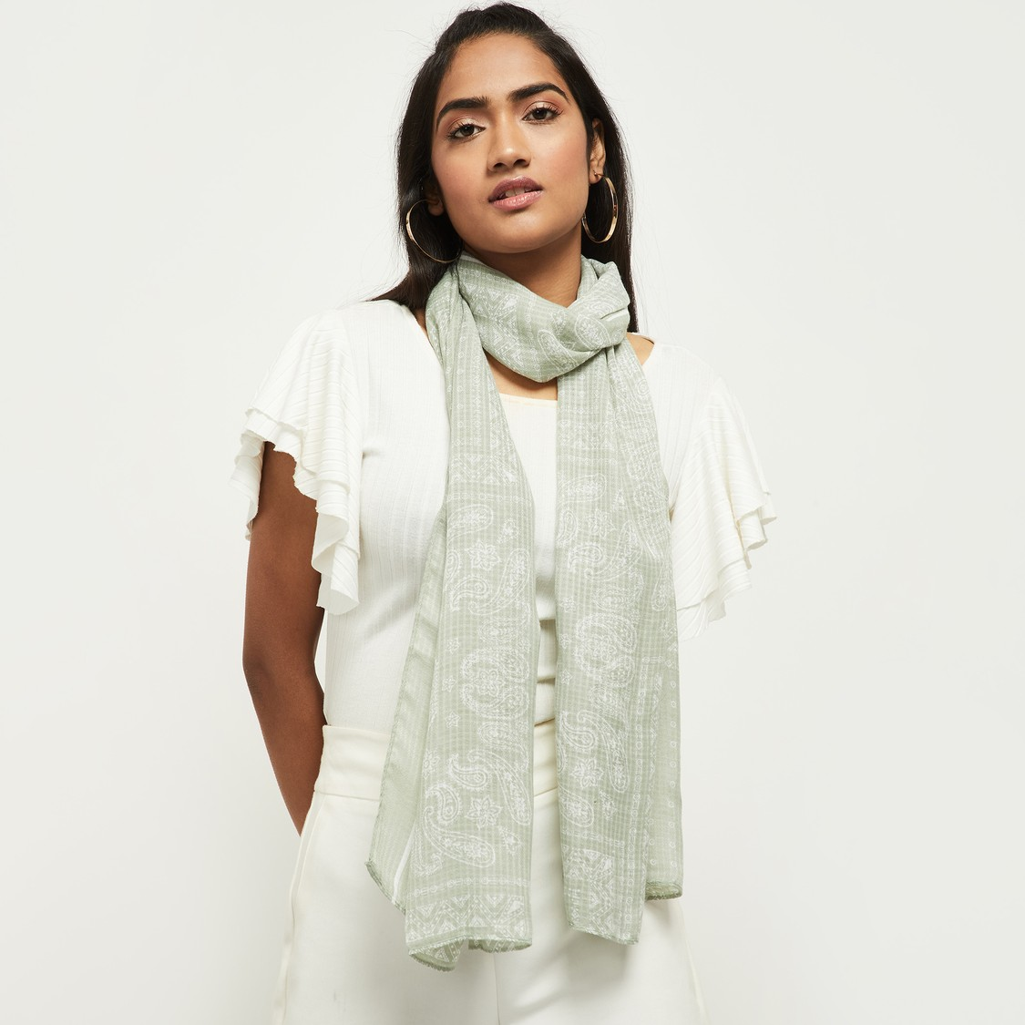 MAX Printed Scarf with Bordered Hem