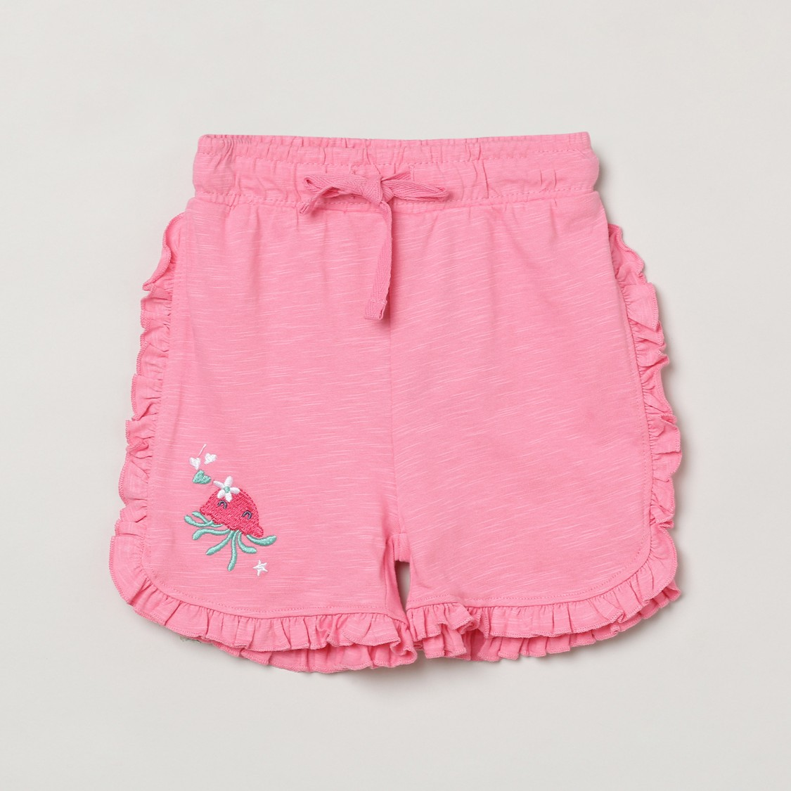 MAX Embroidered Drawstring Waist Shorts